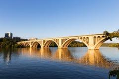Key Bridge at sunrise in Washington DC, USA. Royalty Free Stock Images
