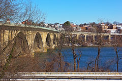 Key Bridge and a view on Georgetown suburb in winter, Washington DC. Stock Photos
