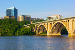 Key Bridge in Washington DC with office building on background. Stock Photography