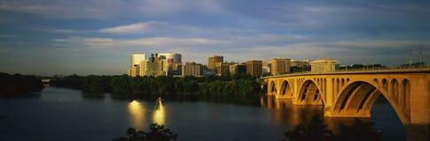 Key Bridge with Washington, DC skyline Stock Images