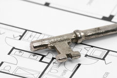 Key and building blueprint Stock Images