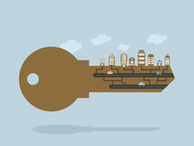 Key And buildings. key to city. Door lock key with Office buildi Royalty Free Stock Photography