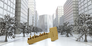Key with buildings on road Stock Image