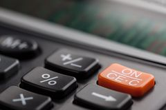 Key of business calculator in soft focus royalty free stock photos