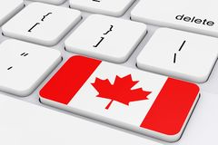 Key with Canada Flag on a White PC Keyboard. 3d Rendering. Key with Canada Flag on a White PC Keyboard extreme closeup. 3d Rendering Royalty Free Stock Image