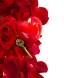 Key with the candle heart Royalty Free Stock Images