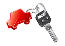 Key for car. Black key for car with red trinket Stock Image