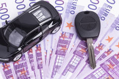 Key car and cash Stock Photo