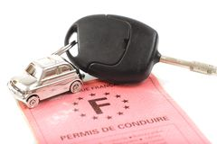 Key car with little key ring in car's shape Royalty Free Stock Photography