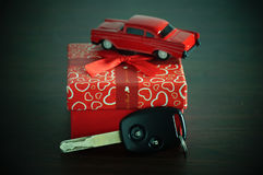 key of car with red gift box Stock Photography