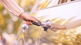 Key in car. Rent vehicle. Safety lock lifestyle stock photos