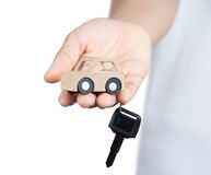 Key and Car wooden. Royalty Free Stock Images
