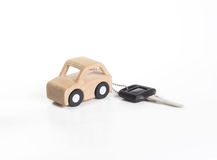 Key and Car wooden. Royalty Free Stock Image