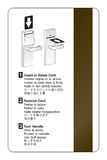 Key card door lock instructions. Key card door lock use instructions in multiple languages stock illustration