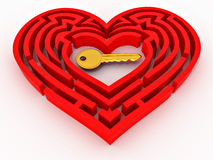 Key in the center of labyrinth in form of heart Stock Photos