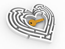 Key in the center of labyrinth in form of heart Royalty Free Stock Image
