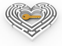 Key in the center of labyrinth in form of heart Stock Image