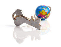 Key chain. Earth globe with key chain Royalty Free Stock Photos