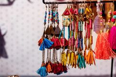 Key chain hanging in the shop on the island of Bali. Indonesia royalty free stock image