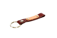 Key chain isolated on white background. Leather key chain isolated on white background Stock Photos
