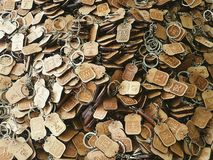 Key chains. Keychains with chinese zodiac signs and letters. All wooden material and hand carved keychains from Qingdao shandong province china royalty free stock photography