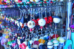 Key chains. On the shelf in the market Royalty Free Stock Photography