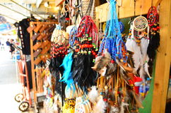 Key chains. On the shelf in the market Royalty Free Stock Photo