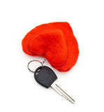 Key and charm in the form of heart Stock Photography