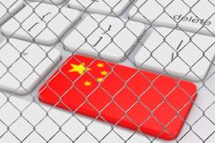 Key with China Flag on White PC Keyboard behind the Chain Link F. Ence extreme closeup. 3d Rendering vector illustration