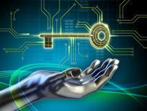Key and circuits. A key connected to some circuits and an android hand reaching for it. Digital illustration Royalty Free Stock Image