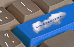 Key for cloud applications. Keyboard with key for cloud applications stock images