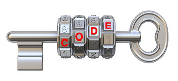 Key with the code mechanism Stock Photography