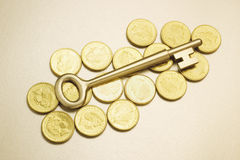 Key on Coins Stock Images
