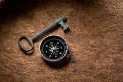 Key and compass Stock Photography