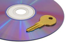 Key on computer cd Royalty Free Stock Photo