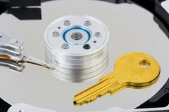 Key on computer disk Stock Image