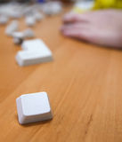 Key of a computer keyboard  on the desk. Isolated Royalty Free Stock Image