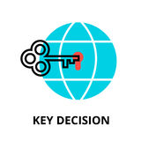 Key decision icon, for graphic and web design. Modern flat editable line design vector illustration, key decision icon, for graphic and web design Royalty Free Stock Images
