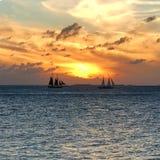 key den västra solnedgången Arkivfoto