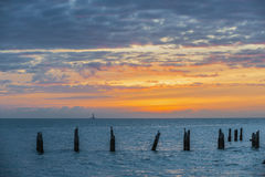 key den västra solnedgången Arkivbilder