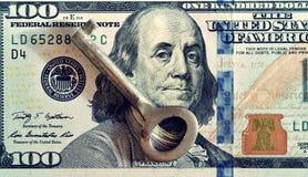 Key and dollars (corruption, lobbying, financial secrecy, loans Royalty Free Stock Photo