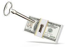 Key and dollars. Isolated on a white background. 3d render Royalty Free Stock Photos