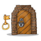 Key and door of the castle - vector illustration cartoon Royalty Free Stock Photography