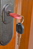 Key in the door lock Stock Image