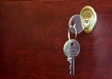 Key in door lock Royalty Free Stock Image