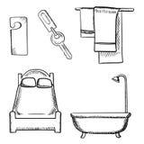 Key, door tag, bed, bathroom and towels sketch Royalty Free Stock Photos