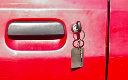 Key at the door Stock Photos