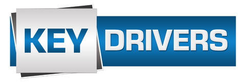 Key Drivers Blue Grey Horizontal. Key drivers text written over grey blue background Stock Photo