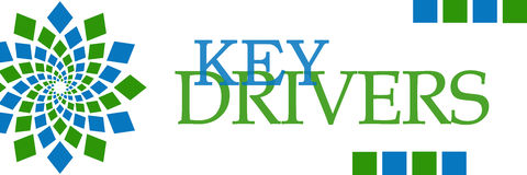 Key Drivers Green Blue Squares Horizontal. Key drivers text written over green blue background Stock Photo