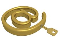 Key from e-mail. 3D object Stock Photography